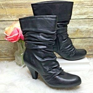 Arturo Chiang Olisa Black Slouchy Mid Calf Boots